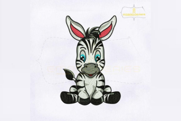 Cute Baby Zebra Baby Animals Embroidery Design By royalembroideries - Image 1