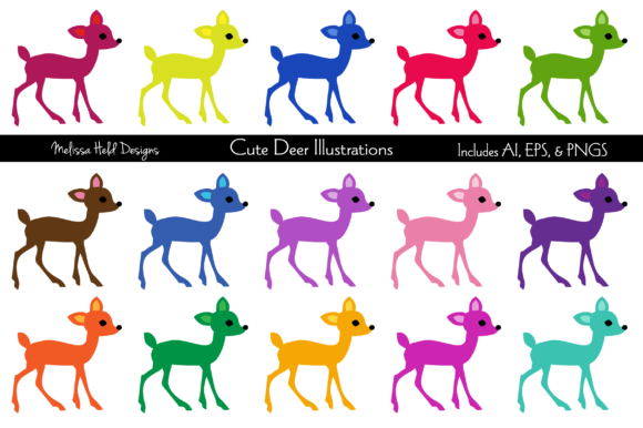Download Free Cute Deer Illustrations Graphic By Melissa Held Designs for Cricut Explore, Silhouette and other cutting machines.
