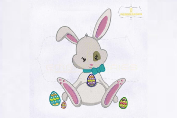 Cute Miss Bunny Playing Egg Easter Embroidery Design By RoyalEmbroideries