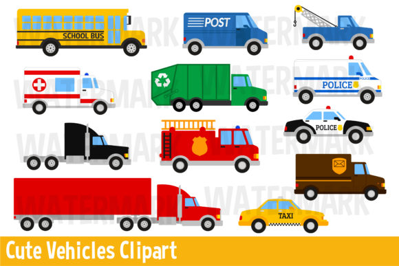 Download Free Cute Vehicles Clipart Graphic By Magreenhouse Creative Fabrica for Cricut Explore, Silhouette and other cutting machines.