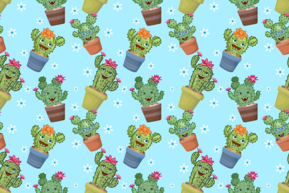 Download Free Cute Cactus In Pots Seamless Pattern Graphic By Ranger262 SVG Cut Files