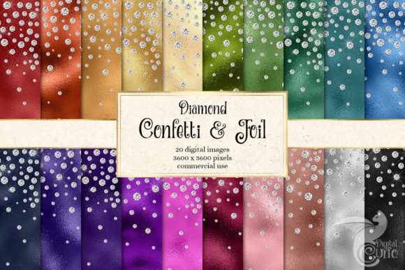 Print on Demand: Diamond Confetti Foil Digital Paper Gráfico Texturas Por Digital Curio