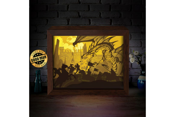 Print on Demand: Dragon 1 3D Paper Cutting Light Box Graphic 3D Shadow Box By LightBoxGoodMan