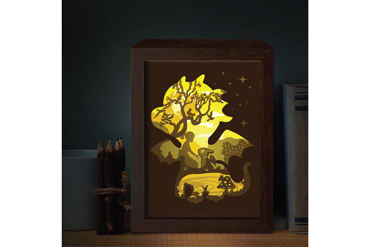 Download Free Dragon 2 3d Paper Cutting Light Box Graphic By Lightboxgoodman Creative Fabrica for Cricut Explore, Silhouette and other cutting machines.