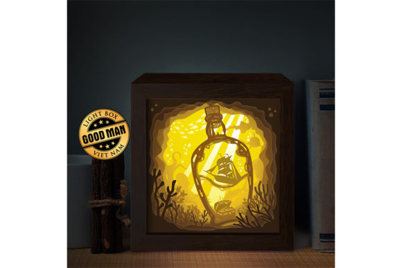Print on Demand: Drifting Bottle Paper Cutting Light Box Graphic 3D Shadow Box By LightBoxGoodMan