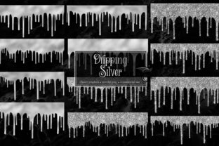 Download Free Dripping Silver Clip Art Overlays Graphic By Digital Curio for Cricut Explore, Silhouette and other cutting machines.