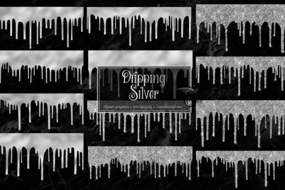 Print on Demand: Dripping Silver Clip Art Overlays Graphic Textures By Digital Curio