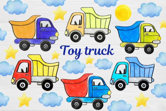 Print on Demand: Dump Truck Clipart, Watercolor Gráfico Ilustraciones Por  Magic world of design