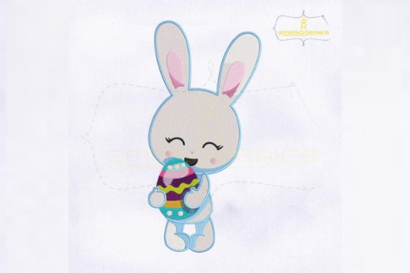 Easter Bunny Holding Egg Easter Embroidery Design By RoyalEmbroideries