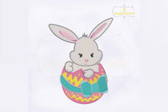 Easter Bunny Inside Egg Easter Embroidery Design By RoyalEmbroideries