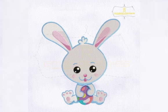 Easter Rabbit Holding Egg Easter Embroidery Design By RoyalEmbroideries
