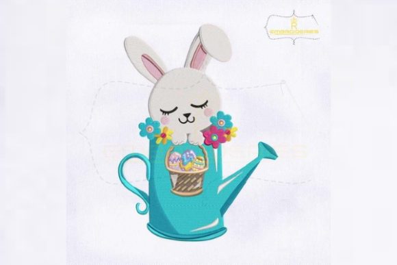 Easter Rabbit Watering Can Easter Embroidery Design By RoyalEmbroideries