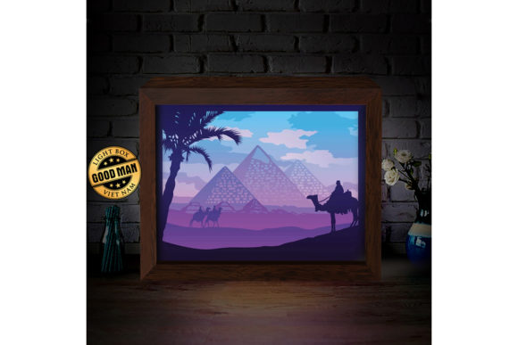 Download Free Egypt Pyramid 3d Paper Cutting Light Box Graphic By Lightboxgoodman Creative Fabrica for Cricut Explore, Silhouette and other cutting machines.