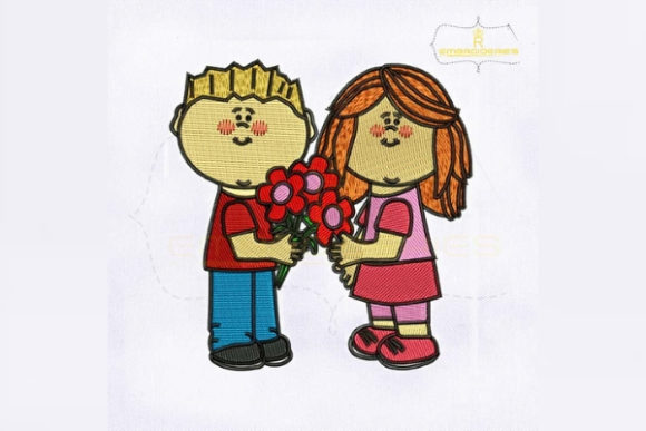 Fall in Love Couple Valentine's Day Embroidery Design By RoyalEmbroideries