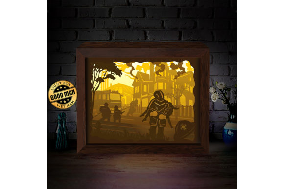 Print on Demand: Fire Man 1 3D Paper Cutting Light Box Graphic 3D Shadow Box By LightBoxGoodMan