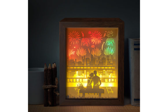 Print on Demand: Firework 1 3D Paper Cutting Light Box Graphic 3D Shadow Box By LightBoxGoodMan