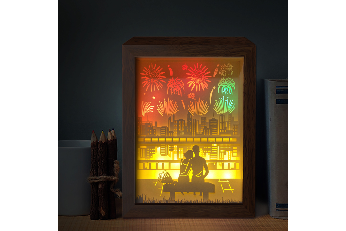 Download Free Firework 1 3d Paper Cutting Light Box Graphic By Lightboxgoodman for Cricut Explore, Silhouette and other cutting machines.