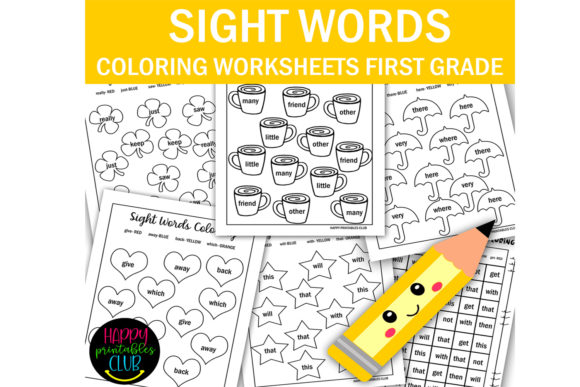 Print on Demand: First Grade Sight Words Coloring Pages Graphic 1st grade By Happy Printables Club