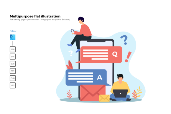 Download Free Flat Illustration Question And Answer Graphic By Rivatxfz Creative Fabrica for Cricut Explore, Silhouette and other cutting machines.