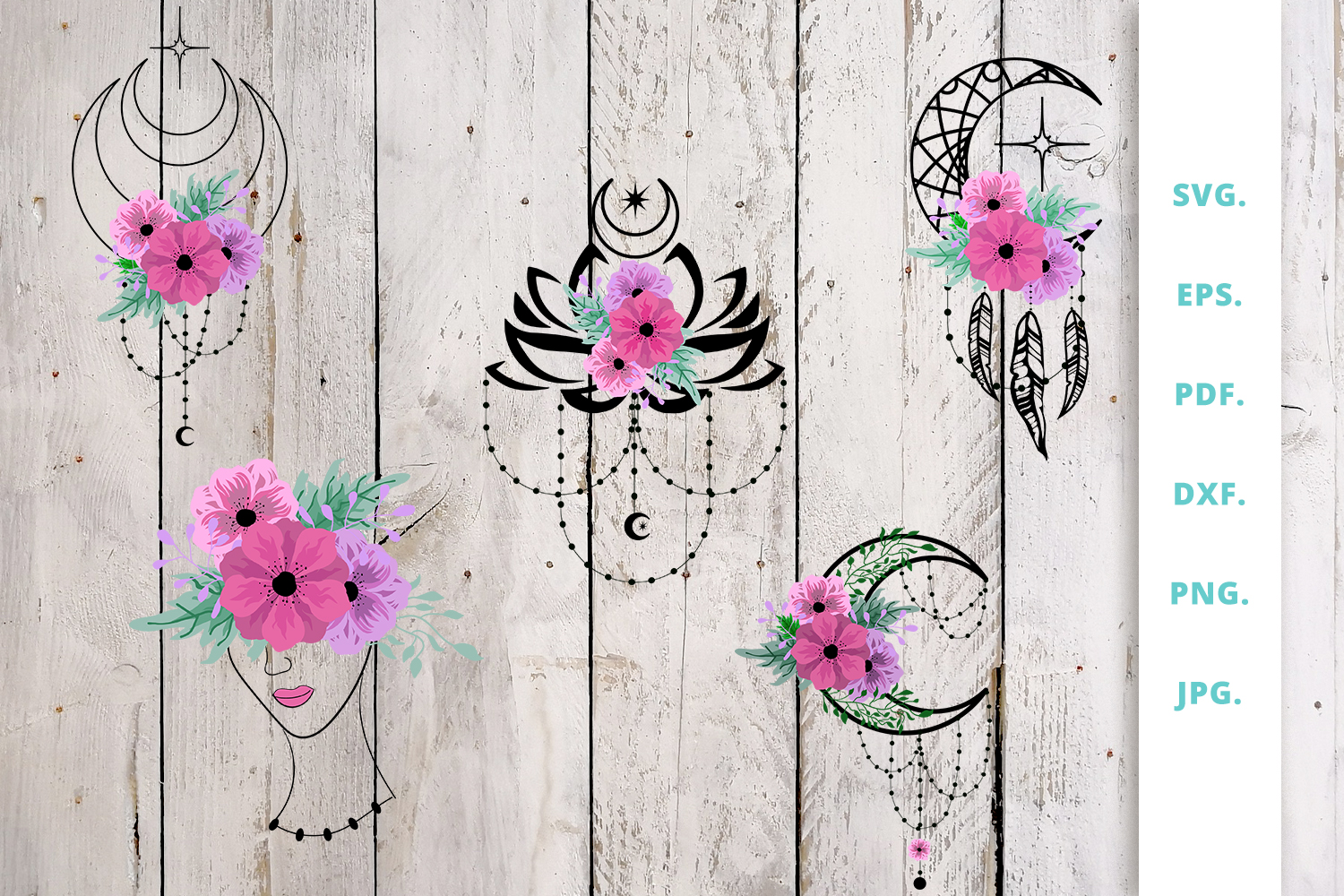 Download Free Floral And Crescent Moon Bundle Graphic By Sintegra Creative for Cricut Explore, Silhouette and other cutting machines.