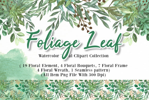 Print on Demand: Foliage Leaf Watercolor Illustration Graphic Illustrations By OrchidArt