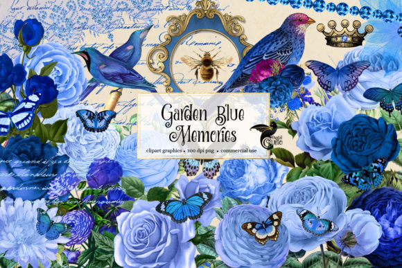 Print on Demand: Garden Blue Memories Clipart Graphic Illustrations By Digital Curio