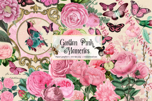 Print on Demand: Garden Pink Memories Clipart Graphic Illustrations By Digital Curio