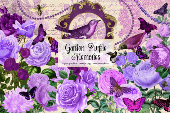 Print on Demand: Garden Purple Memories Clipart Graphic Illustrations By Digital Curio