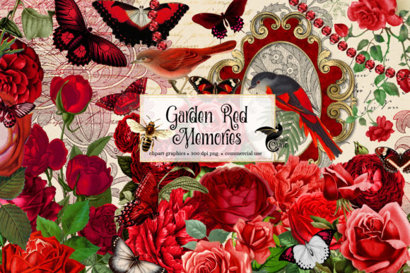 Print on Demand: Garden Red Memories Clipart Graphic Illustrations By Digital Curio