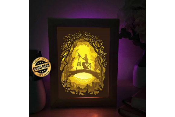 Print on Demand: Girl Painting 3D Paper Cutting Light Box Graphic 3D Shadow Box By LightBoxGoodMan