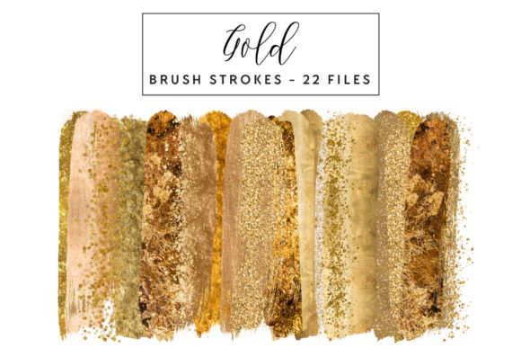 Gold Brush Strokes Graphic Illustrations By clipheartcreations