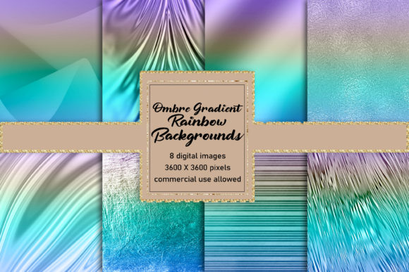 Print on Demand: Gorgeous Gradient Ombre Rainbow Textures Graphic Backgrounds By AM Digital Designs