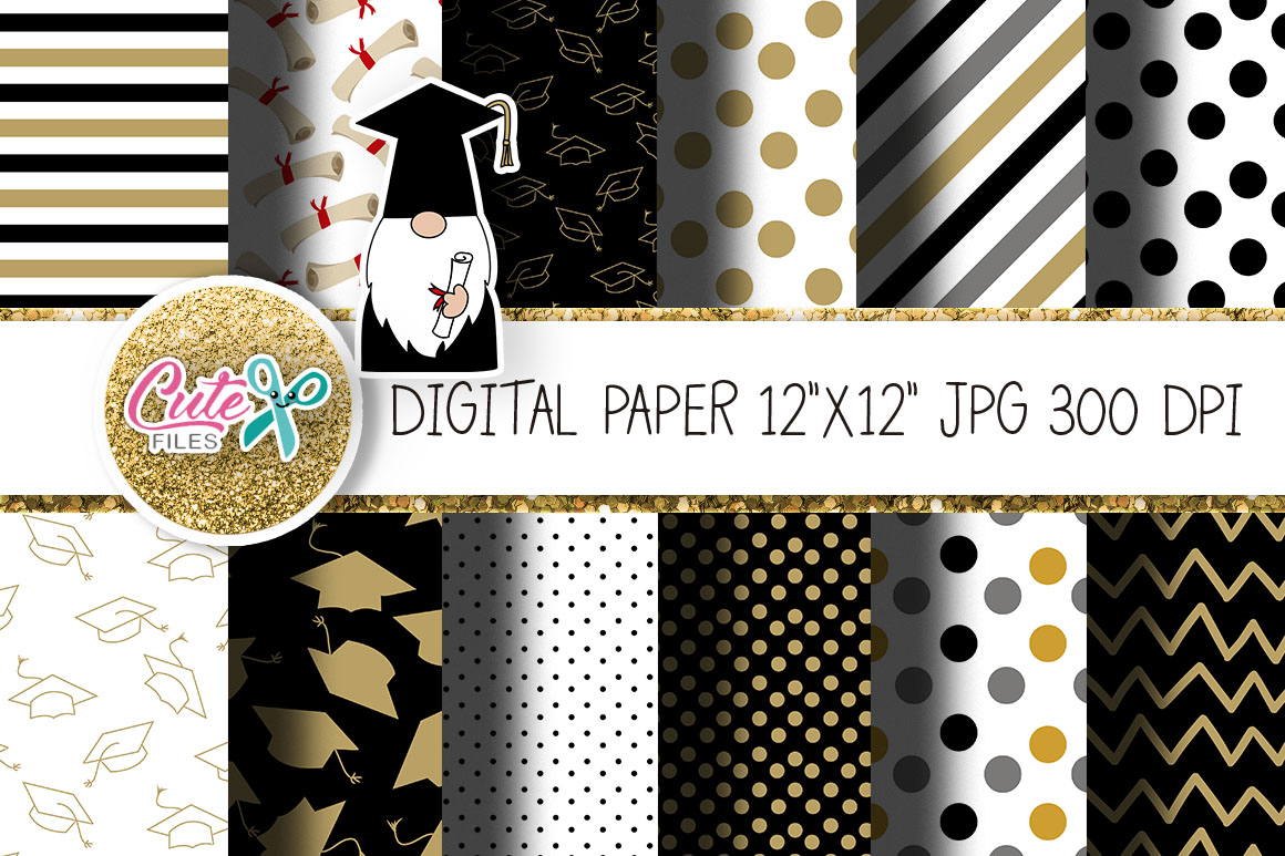 Download Free Graduation Digital Paper For Crafters Graphic By Cute Files for Cricut Explore, Silhouette and other cutting machines.