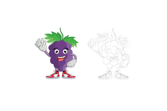 Download Free Grape Fruit Cartoon Character Design Graphic By Printablesplazza Creative Fabrica for Cricut Explore, Silhouette and other cutting machines.