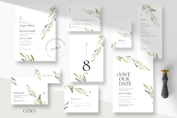 Green Foliage Wedding Suite Graphic Print Templates By Azka Creative