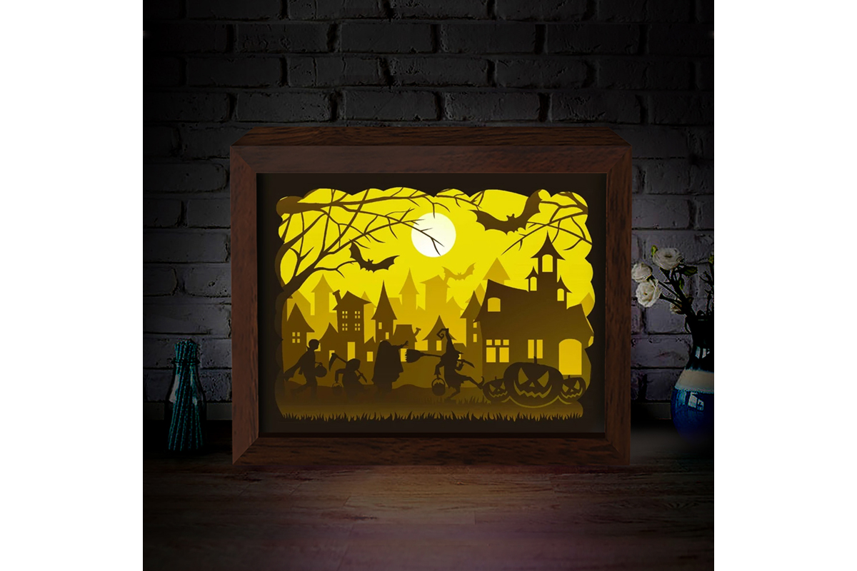 Download Free Halloween 1 3d Paper Cutting Light Box Graphic By for Cricut Explore, Silhouette and other cutting machines.