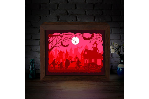 Halloween 1 3D Paper Cutting Light Box Graphic 3D Shadow Box By LightBoxGoodMan - Image 2