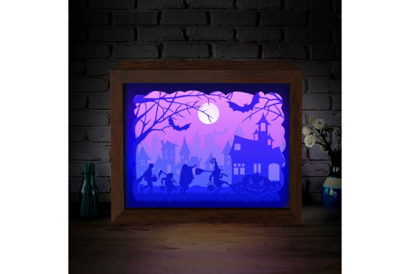 Halloween 1 3D Paper Cutting Light Box Graphic 3D Shadow Box By LightBoxGoodMan - Image 4