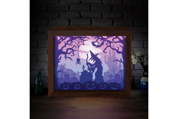 Halloween 2 3D Paper Cutting Light Box Graphic 3D Shadow Box By LightBoxGoodMan