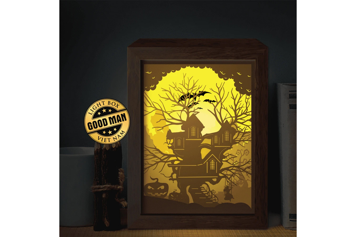 Download Free Halloween 7 3d Paper Cutting Light Box Graphic By Lightboxgoodman Creative Fabrica for Cricut Explore, Silhouette and other cutting machines.