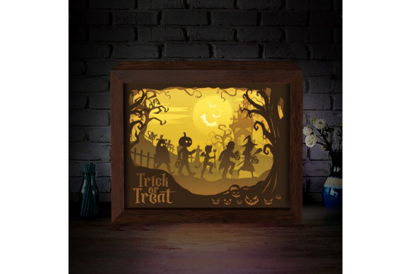 Halloween 8 3D Paper Cutting Light Box Graphic 3D Shadow Box By LightBoxGoodMan - Image 1