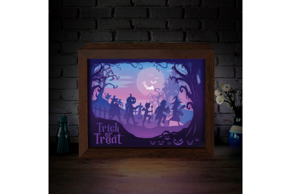 Halloween 8 3D Paper Cutting Light Box Graphic 3D Shadow Box By LightBoxGoodMan - Image 2