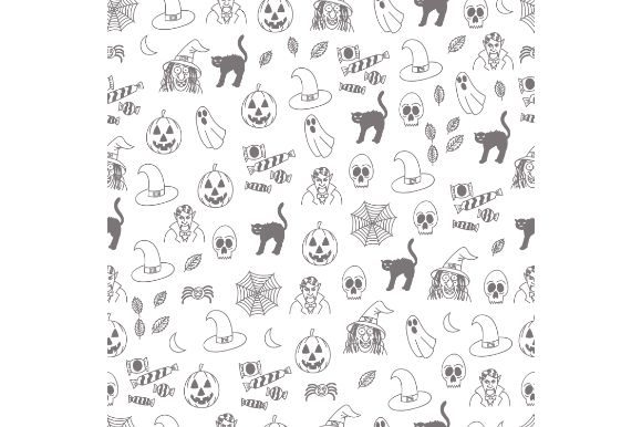 Halloween Black And White Doodle Graphic By Firdausm601