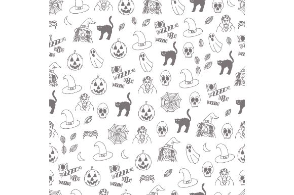 Download Free Halloween Black And White Doodle Graphic By Firdausm601 for Cricut Explore, Silhouette and other cutting machines.