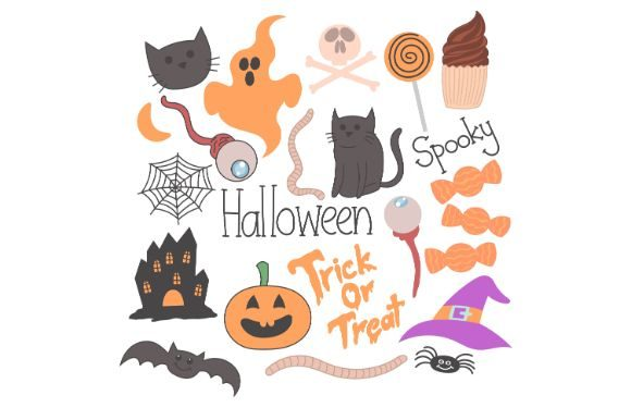 Download Free Halloween Doodle Hand Drawn Graphic By Firdausm601 Creative for Cricut Explore, Silhouette and other cutting machines.