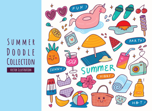 Hand Drawn Summer Doodle Collection Graphic Illustrations By Big Barn Doodles