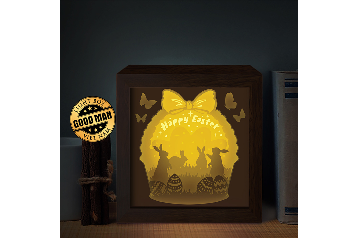 Download Free Happy Easter 3d Paper Cutting Light Box Graphic By Lightboxgoodman Creative Fabrica for Cricut Explore, Silhouette and other cutting machines.