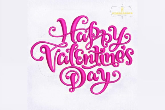 Happy Valentine's Day Valentine's Day Embroidery Design By RoyalEmbroideries