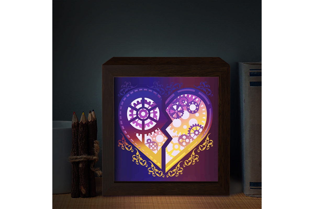 Download Free Heart Gear 1 3d Paper Cutting Light Box Graphic By for Cricut Explore, Silhouette and other cutting machines.