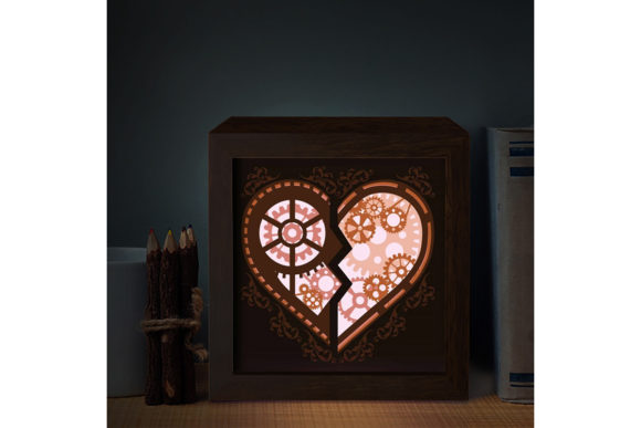 Download Free Heart Gear 1 3d Paper Cutting Light Box Graphic By Lightboxgoodman Creative Fabrica for Cricut Explore, Silhouette and other cutting machines.